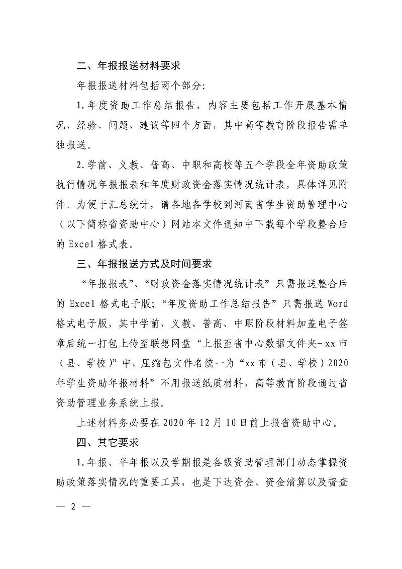河南省教育厅办公室关于报送2020年资助政策执行情况年报的通知_页面_2.jpg